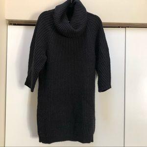 Black Chunky Funnel Neck Wool Blend Sweater Dress
